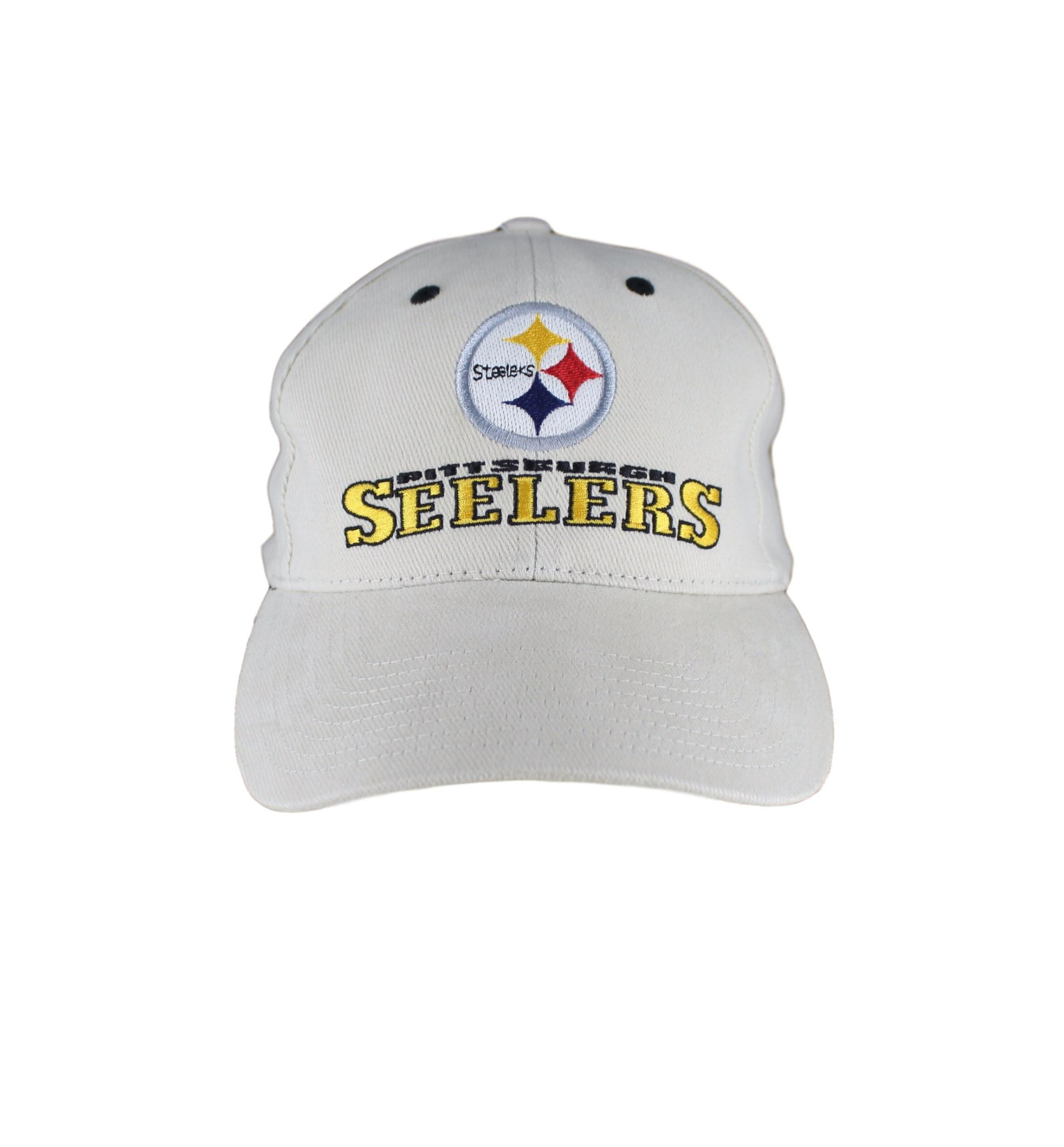 Pittsburgh Steelers Yellow Text And Logo On Beige