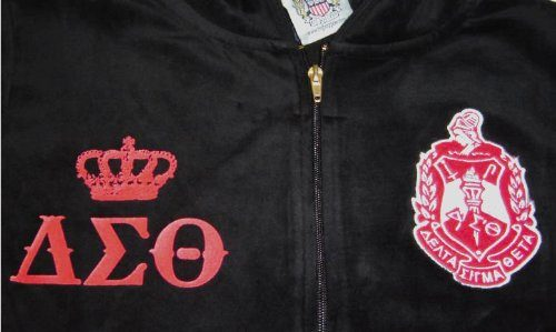 83a6d698 Womens Black Velour Delta Sigma Theta Hooded Track Suit