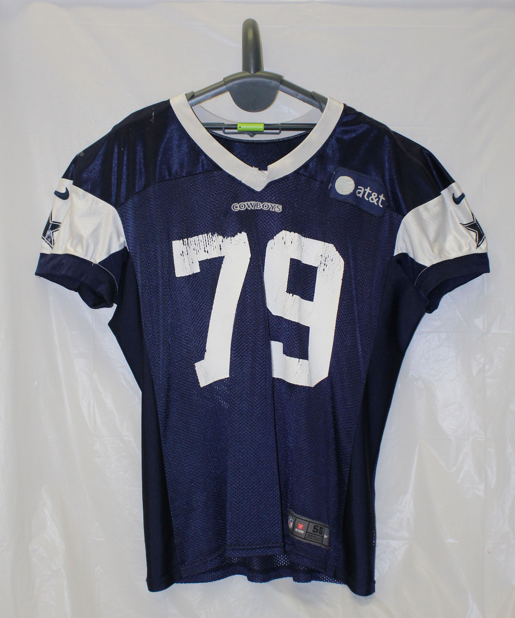 Dallas Cowboys Reebok Authentic Practice Worn Jersey with Blue AT T ... 1845113c6