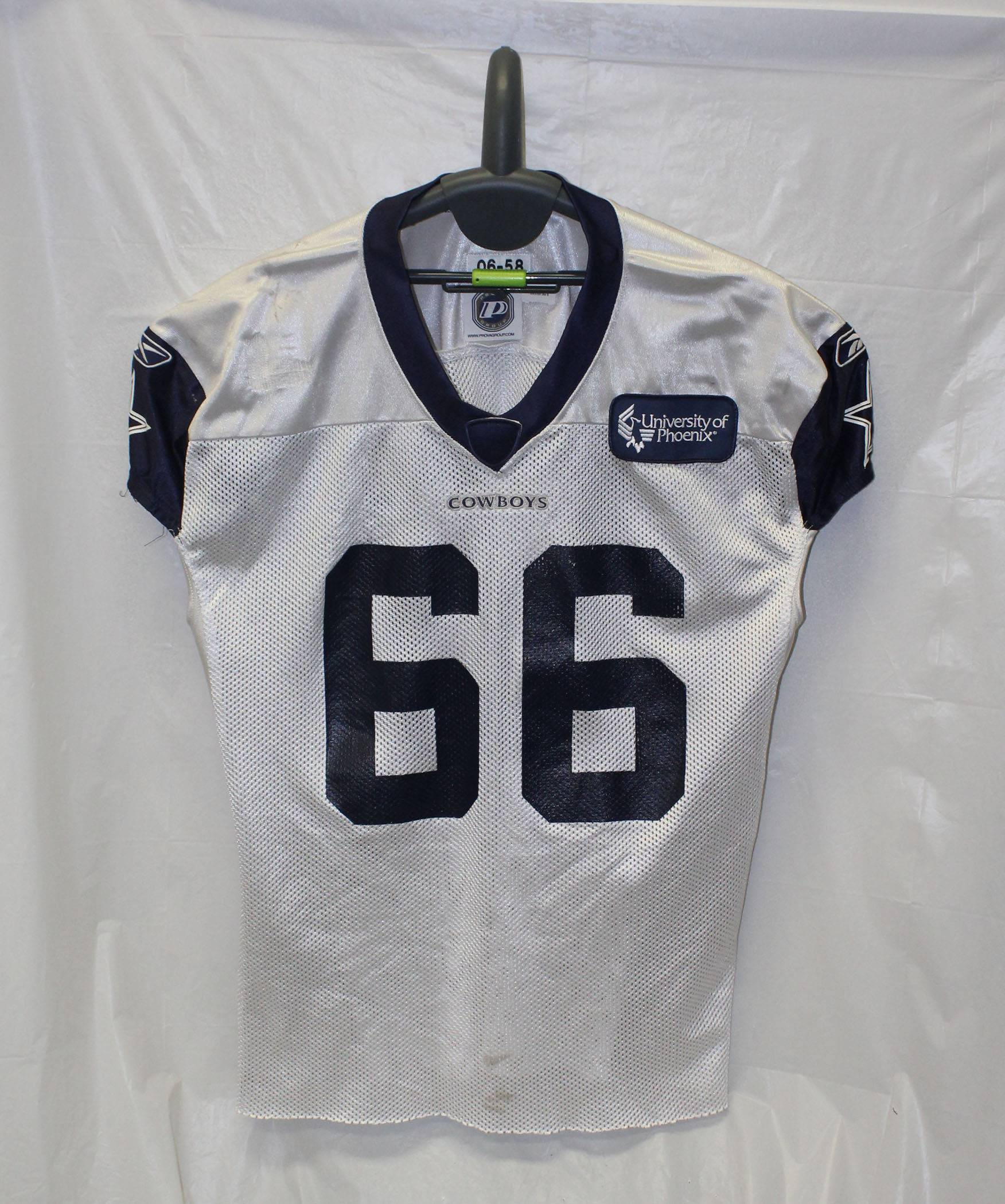 100% authentic 36412 c8400 Dallas Cowboys Reebok Authentic Practice Worn Jersey with Blue U of Phoenix  Patch - WHITE