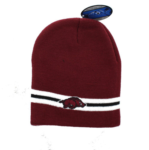 847122feeba Wisconsin Badgers – Embroidered Team Logo on Black Beanie with Red and White  Stripes