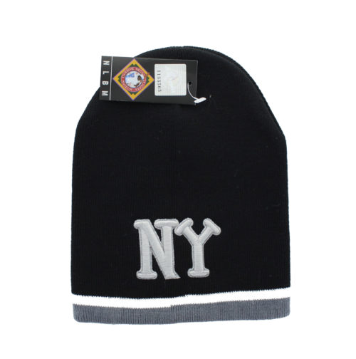 b35679d4b3c New York Black Yankees – Embroidered NY Letters Black Beanie With White and  Grey Stripe