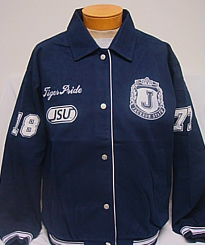Big Boy Gear Jackson State Tigers Navy Blue Racing Jacket with White Text